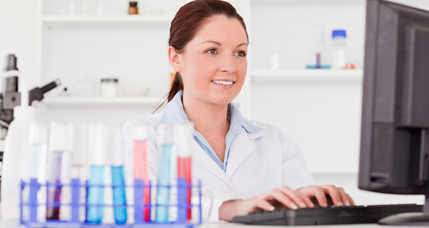 Female epidemiologist researching various new strains of influenza.
